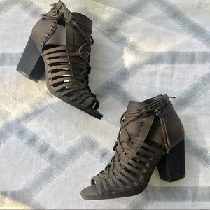 SUGAR Peep Toe Ankle Boots Lace Up Cut Out